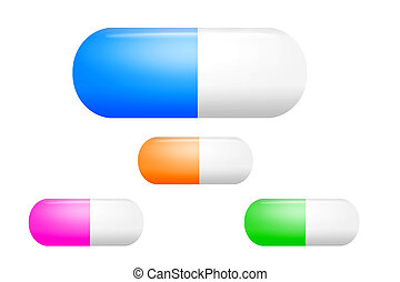 Realistic pills on white background. Illustration