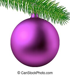 Realistic pink matte Christmas ball or bauble with fir branch isolated on white background. Vector illustration