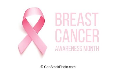 Realistic pink ribbon. Animation with symbol of world breast cancer awareness month in October.