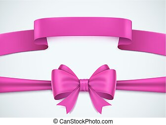 Realistic pink ribbon set on white background.