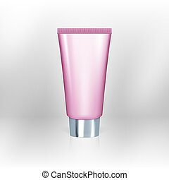 Realistic Pink Tube Of Cream With Chrome Cap. EPS10 Vector