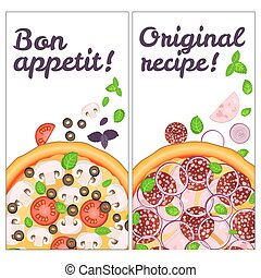 Realistic Pizza Pizzeria flyer vector background. Two vertical Pizza banners with ingredients and text on white backdrop. Bon appetit and Original recipe card for your design.