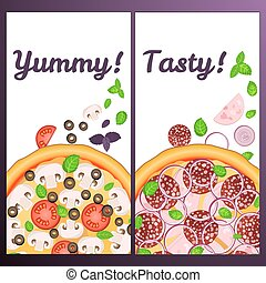Realistic Pizza Pizzeria flyer vector background. Two vertical Pizza banners with ingredients and text on white backdrop. Tasty and Yummy card for your design.