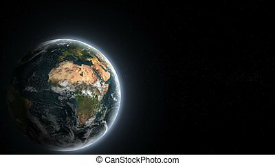 Realistic planet Earth from deep space 3D rendering