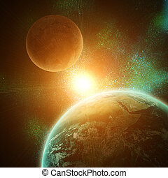 realistic planet earth in open space