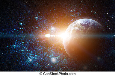 realistic planet earth in space