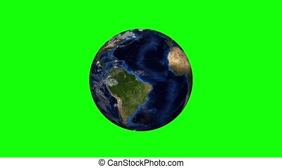 realistic planet earth on a green background