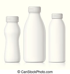 Realistic plastic bottle for milk, yogurt or kefir. -...