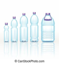 Realistic plastic drink bottles mockups isolated on white background vector set