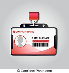 Realistic plastic ID card badge with lanyard vector. Identiry business mockup illustration design. Security access blank template