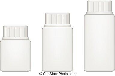 Realistic plastic pill bottle. Mock Up, Vector