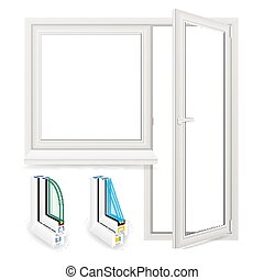 Realistic Plastic Window With Door Vector. Isolated Illustration