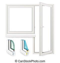 Realistic Plastic Window With Door Vector. Isolated Illustration
