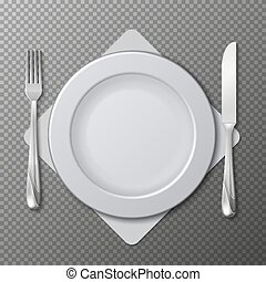 Realistic plate, cutlery vector. Table setting with white plate, fork and knife isolated on transparent background