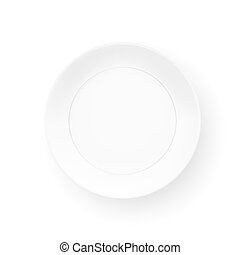 Realistic Plate Isolated On White Background. Top View