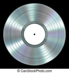 Realistic Platinum Vinyl Record On Black Background. 3D...