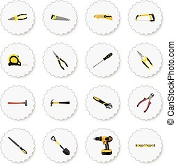 Realistic Pliers, Electric Screwdriver, Carpenter And Other Vector Elements. Set Of Tools Realistic Symbols Also Includes Pincers, Cutter, Tool Objects.