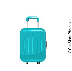 Realistic Polycarbonate Suitcase, Baggage for Tourism, Isolated on White Background