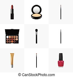 Realistic Pomade, Collagen Tube, Brow Makeup Tool And Other Vector Elements. Set Of Greasepaint Realistic Symbols Also Includes Lipstick, Powder, Makeup Objects.