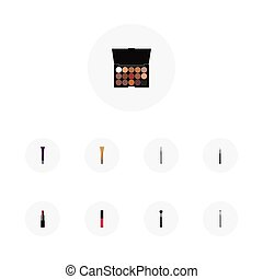 Realistic Pomade, Make-Up Product, Liquid Lipstick And Other Vector Elements. Set Of Maquillage Realistic Symbols Also Includes Palette, Lipstick, Multicolored Objects.