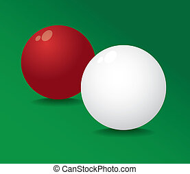Realistic pool ball full red and white - illustration