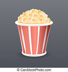 Realistic Popcorn Fast Food Icon Retro Cartoon Symbol Template Vector Illustration