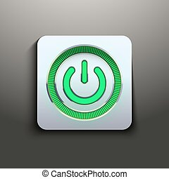 Realistic power button with green light
