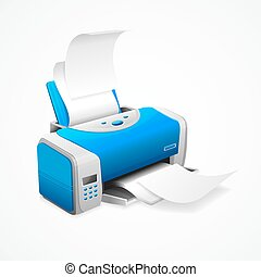 Realistic Printer Machine with White Paper. Vector