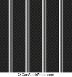 Realistic Prison Bars on Transparent Background. Vector