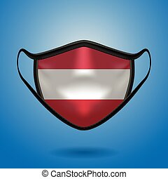 Realistic Protective Medical Mask with National Flag of Austria.