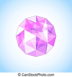 Realistic purple amethyst shaped. Gem. Vector illustration.