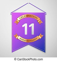 Realistic Purple pennant with inscription Eleven Years Anniversary Celebration Design on grey background. Golden ribbon. Colorful template elements for your birthday party. Vector illustration