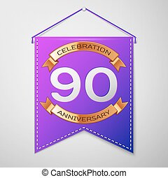 Realistic Purple pennant with inscription Ninety Years Anniversary Celebration Design on grey background. Golden ribbon. Colorful template elements for your birthday party. Vector illustration