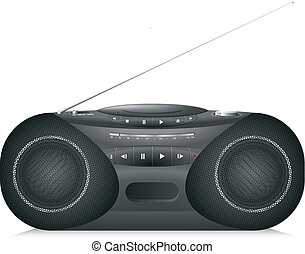 Realistic Radio cassette recorder with CD player isolated on...
