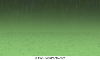 Realistic rain and water droplets on the green background....