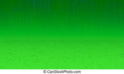 Realistic rain and water droplets with chroma key green...