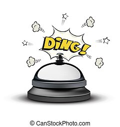 Realistic reception bell and Ding sign in comic book style on white background. Vector illustration.