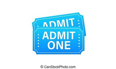Realistic red and blue show ticket. Old premium cinema entrance tickets