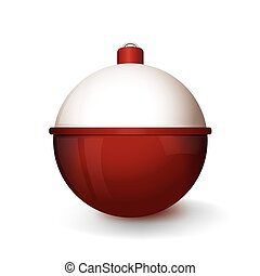 A red and white fishing bobber isolated on white background illustration. Vector EPS 10 available.