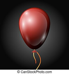 Realistic red balloon with ribbon isolated on black background. Vector illustration of shiny colorful glossy balloon