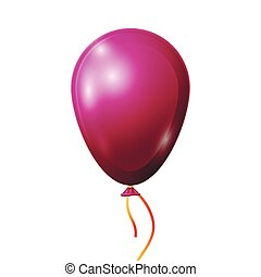 Realistic red balloon with ribbon isolated on white background. Vector illustration of shiny colorful glossy balloon