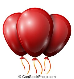 Realistic red balloons with ribbon isolated on white background. Vector illustration of shiny colorful glossy balloons