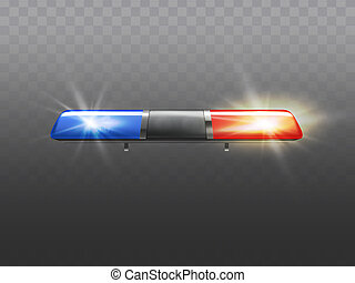 realistic red, blue flashers for police car.