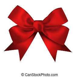 Realistic red bow isolated on white background. Closeup...
