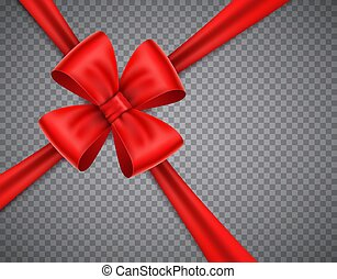 Realistic red bow on transparent background. Crossing tape