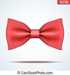 Realistic red bow tie - Realistic silk red bow tie. Fashion...