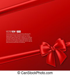 Realistic red bow with ribbon.