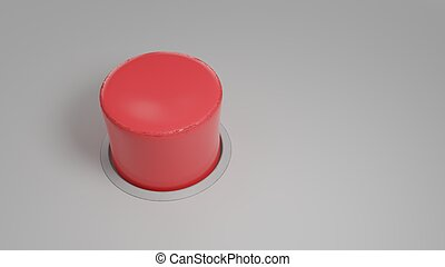 Realistic red button on gray background. 3d illustration