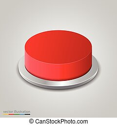 Realistic red button on white background