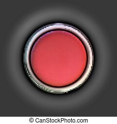 Realistic red button. Vector illustration.